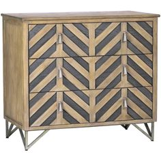 Our chevron chest is a modular-style chest of drawers that features a herringbone pattern on the drawer fronts and deep drawers for a unique, transitional piece. The oak chest sits on a metal base, and is finished in Honey Oak and Havana Oak with antique nickel accents. #chevron #chest