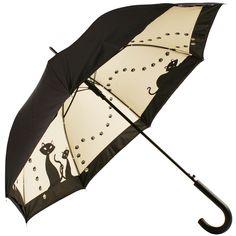 Black Cats Art Print Double Canopy Walking Length Umbrella - Brolliesgalore