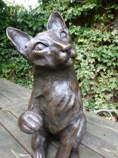 Best Cats sculptures : Bronze-resin Garden Or Yard / Outside and Outdoor sculpture by artist Linda Preece titled: '`Toby – Ocicat` (Playful life size Pet Cat sitting I statue)' -Read More – - Toby Is A, Ocicat, Outdoor Sculpture, Garden Sculpture, Cat Sitting, Interior Design Inspiration, Decorative Objects, Cool Cats, Sculptures