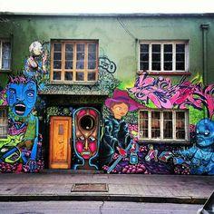 Street Art, Graffiti, Painting, Mural, Wall, Santiago, Bellavista, Chile