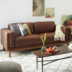 Buy west elm Dekalb Aniline Leather Sofa, Molasses from our Sofas & Sofa Beds range at John Lewis & Partners. Brown Furniture, Sofa Furniture, Living Room Furniture, Sofa Sofa, Sofa Sleeper, Furniture Shopping, Leather Furniture, Upholstered Furniture, Modern Furniture