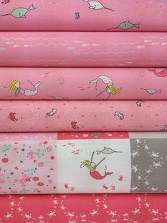 Riley Blake, Saltwater, Pink in FAT QUARTERS 6 Total