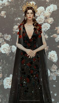 HoangLap's Sims - Temptation of Roses gown Patreon January exclusive. Sims 3, The Sims 4 Pc, Sims 4 Cas, Mods Sims, Sims 4 Mods Clothes, Sims 4 Clothing, Sims 4 Wedding Dress, Sims 4 Challenges, Vampire Dress
