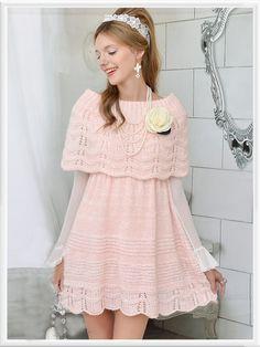 Morpheus Boutique - Pink Knit Hem Ruffle Hollow Out Long Sleeve Dress Trendy Dresses, Cute Dresses, Short Dresses, Girls Dresses, Flower Girl Dresses, Cozy Fashion, Pink Fashion, Asian Fashion, Petticoated Boys