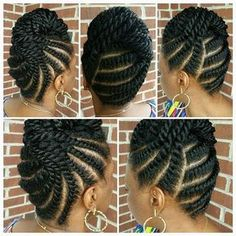 Regal flat twisted updo by Sabrina (saba_reena)! BOOKING: or SROwens click now for more info. Flat Twist Hairstyles, Flat Twist Updo, Natural Afro Hairstyles, Twist Braids, African Hairstyles, Braided Hairstyles, Black Hairstyles, Hairstyles 2016, Wedding Hairstyles