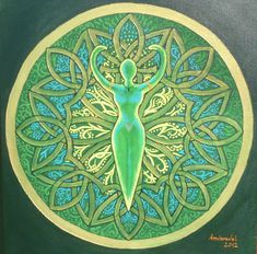Mandala of Green Goddess by Amvaradel Witch craft inspiration  I want to make this out of Clay :)