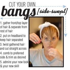 Cut Your Own Bangs [side-swept] by cueyouin on Polyvore featuring beauty and cutyourownbangs
