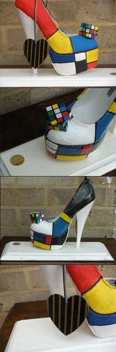 d6d613cfee5b Mondrian Meets Rubix Shoe Sculpture - Colour Blocking to Brighten any  Collectors Room £110.00 Weird