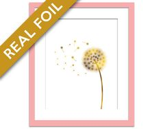 Dandelion Gold Foil Art Print - Flower Poster - Gold Foil Floral Art - Nursery Nature Art Print - Nature Poster - Make a Wish Wall Decor