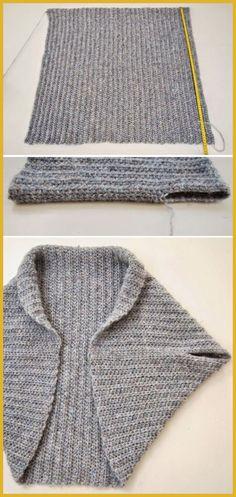 Folded Rectangle Shrug - Free Knitting Pattern knitting for beginners knitting ideas knitting patterns knitting projects knitting sweater Knitting Videos, Easy Knitting, Knitting For Beginners, Loom Knitting, Knitting Stitches, Knitting Projects, Outlander Knitting Patterns, Crochet Bolero Pattern, Shrug Pattern