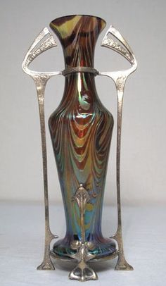 Loetz | Antique Art Nouveau Art Glass Vase In Metal Armature.
