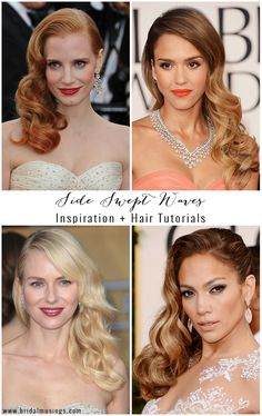 Wedding Hairstyles: Side Swept Waves Inspiration And Tutorials Lots of celebrities and brides are sporting the latest wedding hairstyle trend - side swept waves. Find inspiration and 3 fabulous DIY hair tutorials here! Wedding Hair Side, Vintage Wedding Hair, Bridal Hair Side Swept, Side Swept Updo, Wedding Pins, Side Swept Hairstyles, Down Hairstyles, Wedding Hairstyles Side, Ball Hairstyles