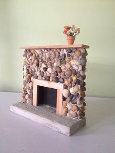Barbie Size Riverstone Fireplace - Rustic - Lodge 1:6 Scale - Barbie Furniture