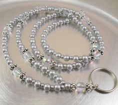 Beaded ID Lanyard Badge Holder Glasses Holder  Grey by mmojewelry, $22.00