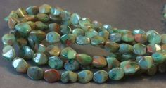 Czech Pinch Bead 5mm X 3mm Opaque Green Blue Brown Picasso Mix 1 Strand by gypsybeadpeddler on Etsy