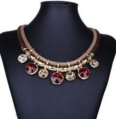 Vintage Boho Big Bohemian Rhinestone Ethnic Statement Necklace Women Tassel Power Choker Maxi Collar Necklace Fashion Jewelry