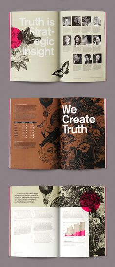 I think these layouts are a great example of how to make pages graphic heavy, and yet integrate text very well. However, where the most intense graphic elements are, my eye usually goes the wrong way across the page (i.e. right to left)
