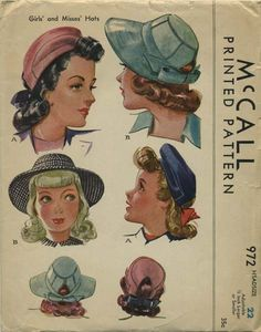 Vogue Girl/'s Vintage Millinery Hat Cap Fabric Material Sew Pattern # 2275