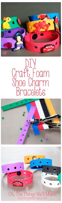 How to make craft foam shoe charm bracelets for showing off croc shoe charms, also known as Jibbitz. There bracelets would make a great party favor when giving out shoe charms to the kids.