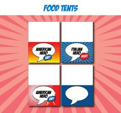 Superhero Birthday Party - FOOD LABELS - Printable Superhero Decorations - Printable Food Tents - DIY Birthday Party