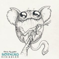 Cute monster art by Chris Ryniak Frog Monkey #morningscribbles Follow Chris Ryniak on facebook and Instagram. ;) http://chrisryniak.com/ https://www.facebook.com/pages/Chris-Ryniak/68169468627