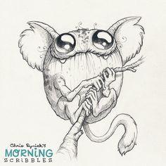 Cute monster art by Chris Ryniak Frog Monkey #morningscribbles Follow Chris Ryniak on facebook and Instagram. ;) http://chrisryniak.com/ https://www.facebook.com/pages/Chris-Ryniak/68169468627