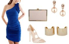 Vestido azul ajustado combinado con dorado. Party Look dresses  https://m.facebook.com/YouDressUru