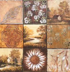 Cuadrados ocres 2 . 90x90 Técnicas : acrílico con texturas, estuco, veladuras, estarcido y pan de oro y plata.