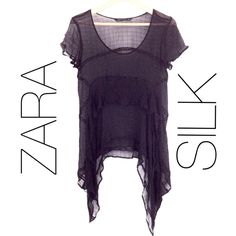 FINAL SALE! ZARA Black Silk Top Size M Sheer 100% Silk Chiffon with picot stitching details and grid pattern. Used, low cost reflects this. Needs a good steaming. Zara Tops