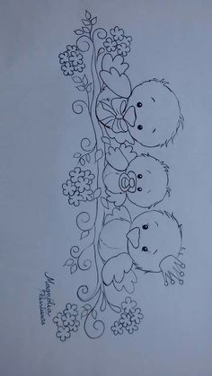 Most up-to-date No Cost Fabric painting baby Popular , Baby Embroidery, Hand Embroidery Patterns, Applique Patterns, Vintage Embroidery, Embroidery Stitches, Coloring Book Pages, Fabric Painting, Vintage Patterns, Easy Drawings