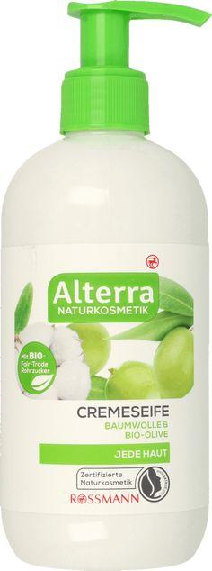 Alterra Kremowe mydło w płynie Bawełna & Oliwa Bio 300 ml. Do wszystkich rodzajów skóry. Kosmetyki naturalne Alterra z cukrem trzcinowym BIO ze Soap, Cosmetics, Organic Beauty, Bar Soap, Soaps