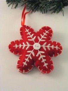 Snowflake Felt button Red/White DB108 - Red and Burgundy christmas ornaments, - by rupalee