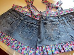 recycle jeans into child's aprons