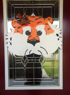 Aubie Tiger Wooden Door Hanger by PinkWhimsyCollection on Etsy