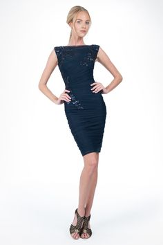 Ruched Tulle Dress with Paillette Embroidered Lace Applique in Navy | Tadashi Shoji