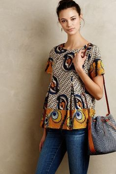 Kora Blouse - anthropologie.com ~Latest African Fashion, African Prints, African fashion styles, African clothing, Nigerian style, Ghanaian fashion, African women dresses, African Bags, African shoes, Nigerian fashion, Ankara, Kitenge, Aso okè, Kenté, brocade. ~DKK #AfricanFashion