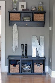 bench and coat rack at foot of stairs - Google Search