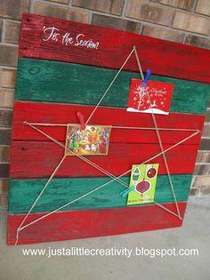 Just a little Creativity: Repurposed Wood Palette- Star Christmas Card Holder DIY