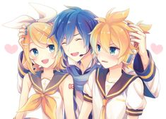 Vocaloid Kaito with Len and Rin = with and Vocaloid Funny, Vocaloid Kaito, Kaito Shion, Len Y Rin, Kagamine Rin And Len, Sakura Card Captor, Vocaloid Characters, Familia Anime, Anime Demon