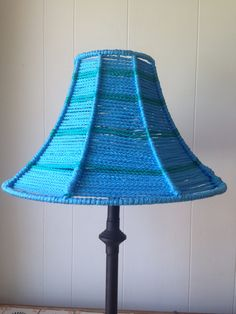 Small macrame lamp shade lamp stand included lamp stands about 1 blue macrame lamp shade lamp base not included hand wrapped polyolefin cord around wire greentooth Choice Image