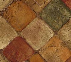 Wallpaper Faux Tumbled Tuscan Tiles Tan Rust Green | eBay