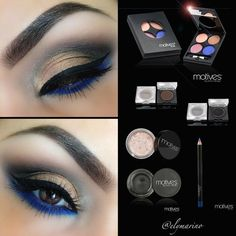 Get the look with blue and gold eye makeup pictorial Using the Muse Palette for this look Lid/Orange Iridescent color (Muse Palette) Outer Corner/Bronze (Muse Palette) Crease/Onyx Above Cr (Best Eyeliner For Bottom Lid) Khol Eyeliner, Blue Eyeliner, Blue Eyeshadow, Eyeshadow Looks, Eyeshadow Makeup, Eyeshadows, Motives Makeup, Foil Eyeshadow, Simple Eyeshadow