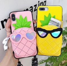 Cartoon Pineapple Purse Cosmetic Mirror Phone Case Cover For iphone XS Max 6 7 8 Girly Phone Cases, Iphone Cases For Girls, Cell Phone Covers, Iphone Phone Cases, Accessoires Iphone, Cute Cases, Coque Iphone, Iphone Accessories, Mobile Cases