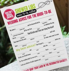 Bridal shower ad lib marriage advice game