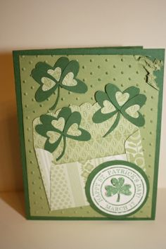 Stampin' Up! ... handmade St Patrick's card ... evelope with punched heart shamrocks escaping ...