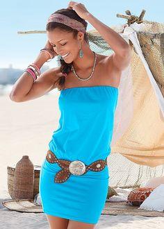 Sun-kissed shoulders..Venus strapless dress.