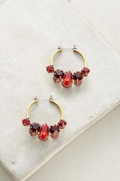 Alba Bijoux Red Crystal Hoop Earrings