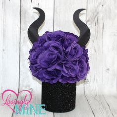 Maleficent Inspired Centerpiece - Glitter Black, Purple Rose Pomander, Black Cardstock Horns This listing is for 1 centerpiece, as pictured. The