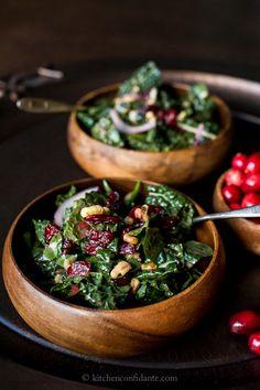 Cranberry Walnut Kale Salad with Cranberry Vinaigrette