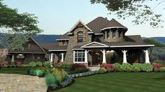 Elevation of Craftsman   European   Tuscan   Victorian   House Plan 65872 AMAZING curves and style